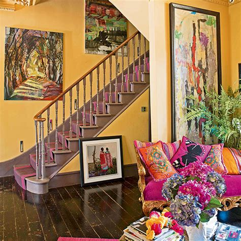 colourful yellow  pink hallway decorating ideal home