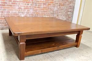 Oak Coffee Table With Slatted Shelf - ECustomFinishes