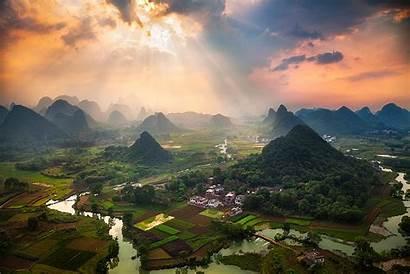China Yangshuo Hill Landscape Guilin Mountain Mountains