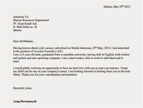Surat Izin Sekolah Simpel by Contoh Surat Lamaran Kerja Bahasa Inggris Terbaru Info Kerja