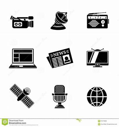 Radio Tv Internet Icons Camera Illustration Vector