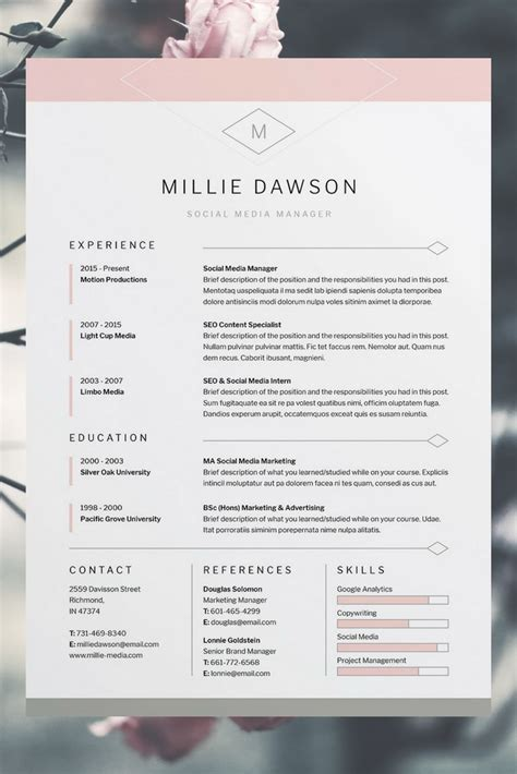Mustervorlage Lebenslauf Kostenlos by Millie Resume Cv Template Word Photoshop Indesign