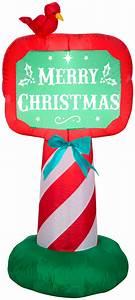 Holiday, Time, Santa, With, Merry, Christmas, Sign, Inflatable, 8, 5, U0026, 39, -, Walmart, Com