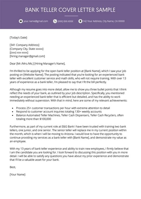 Personal Banker Cover Letter Example Learnist Org