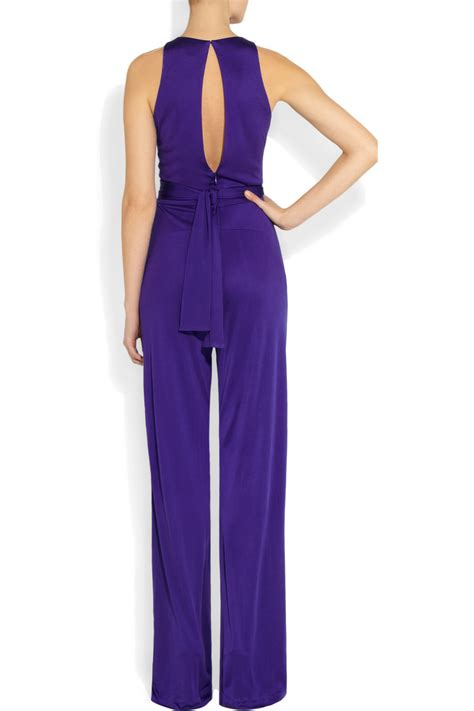 with you jumpsuit issa silkjersey jumpsuit in purple lyst