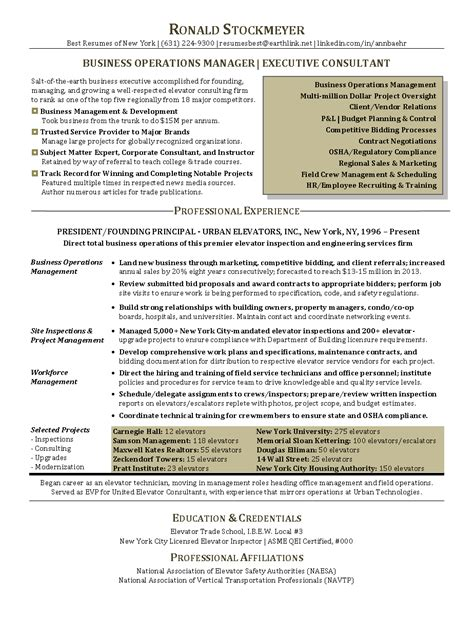 resume sle for business operations