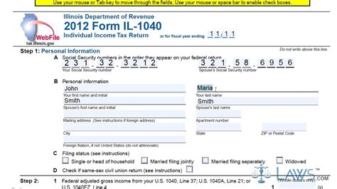 illinois form 1040 form il 1040 individual income tax return youtube