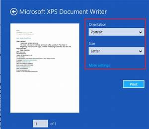 how to print an email from mail app in windows 8 With microsoft xps documents