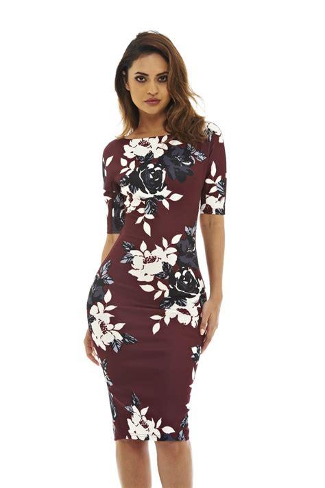 sleeve floral midi dress ax 39 s 3 4 sleeve floral midi dress