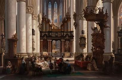 Classic Painting Architecture Interior Church Brown Belgium