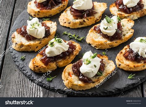 canape aperitif canape crostini on slate board ideal stock photo 488609953