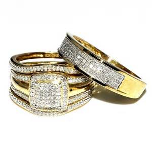 affordable wedding bands for trio wedding rings set bridal set 3 and mens wide wedding band 0 78ct w 10k yellow gold