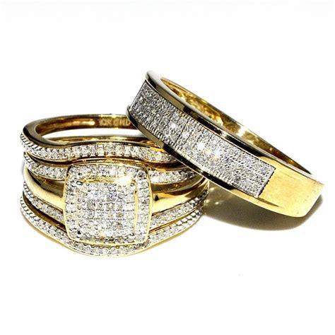affordable bridal sets trio wedding rings set bridal set 3 and mens wide
