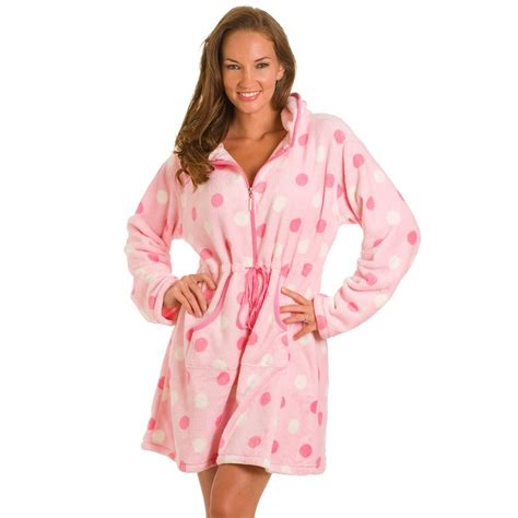 robe de chambre polaire pink spot zip front robe