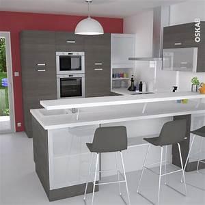 Cuisine en u ouverte avec retour snack meuble de cuisine for Petite cuisine équipée avec meuble contemporain salle a manger