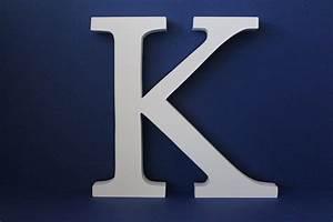 Large wooden letters uppercase white 20cm serif font quotkquot for Large wooden letter k