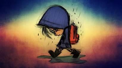 Sad Rain Kid Laptop Tablet