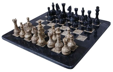 Handmade Black And Coral Marble Two Players Full Chess