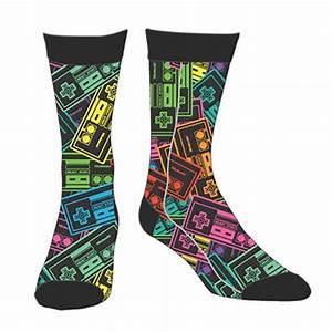 Nintendo Men s Neon Controller Print Socks