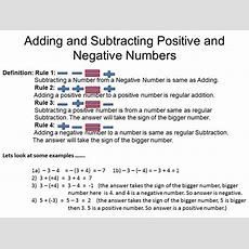 Adding And Subtracting Positive And Negative Numbers  Algebra 1 Pinterest