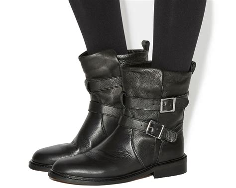 Womens Office Indicate Buckle Biker Boots BLACK LEATHER