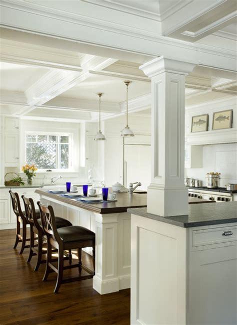 kitchen island with posts architectural kitchen traditional kitchen boston