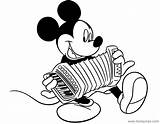 Mickey Coloring Mouse Accordion Playing Disneyclips Activities Disney Misc Funstuff sketch template