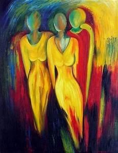 Tableau Peinture Sur Toile : tableau peinture sur toile silhouettes de femmes en jaune ~ Teatrodelosmanantiales.com Idées de Décoration