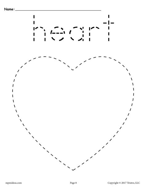 Free Heart Tracing Worksheet  Printable Tracing Shapes Worksheets Supplyme