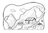 Coloring Pages Mountains Iceberg Edupics sketch template