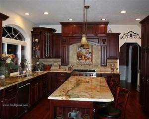 cherry cabinet with granite houzz With kitchen colors with white cabinets with mediterranean metal wall art