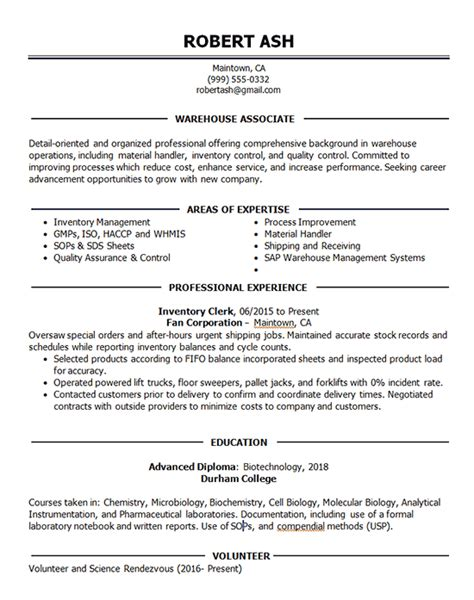 warehouse associate resume  inventory shipping