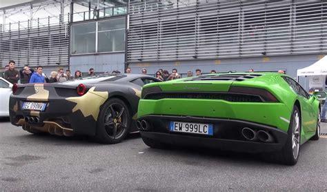 Vs Lamborghini by 458 Vs Lamborghini Huracan Rev Battle