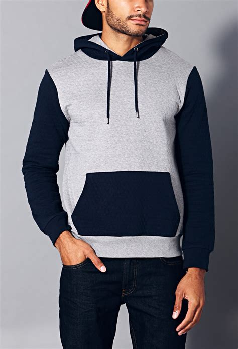 quilted hoodie mens 21men quilted hoodie in blue for grey navy lyst