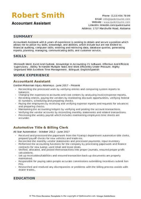 Resume For Accounting Assistant by Accountant Assistant Resume Sles Qwikresume