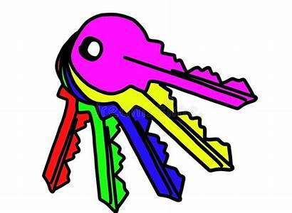 Keys Clipart Colored Bunch Illustrations Colorate Chiavi