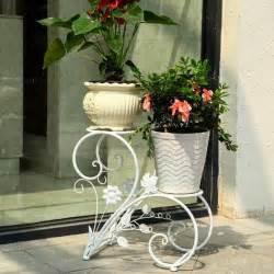 2 tier white iron flower pot plant stand home garden patio