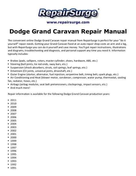 online auto repair manual 2002 dodge grand caravan parking system dodge grand caravan repair manual 1990 2011