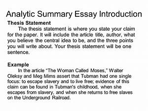 summary thesis statement example