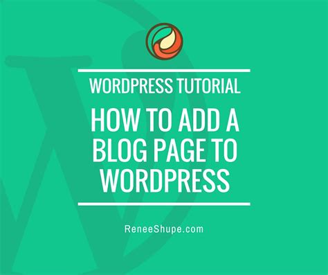 Wordpress Tutorial wp tutorial   add  blog page  wordpress renee shupe 940 x 788 · jpeg