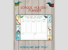 Summer Holiday Planner Printable Kids School Vacation Activity