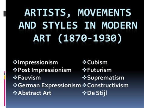 artists movements and styles in modern