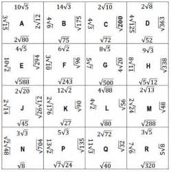 Simplifying Radicals Puzzle Worksheet