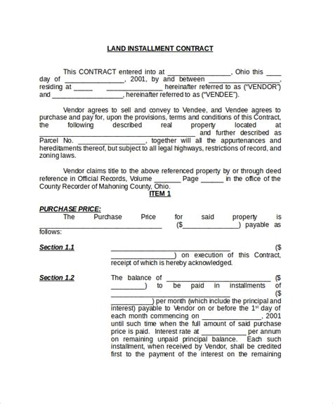sample land contract forms   ms word