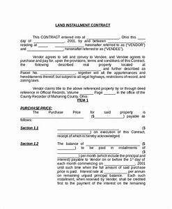 Installment Payment Agreement Sample Free 8 Sample Land Contract Forms In Pdf Ms Word