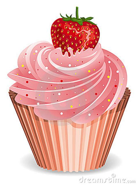 cupcake  strawberry royalty  stock photography