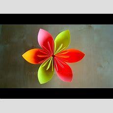 Origami Blumen Falten  Diy Blumen Basteln Mit Papier