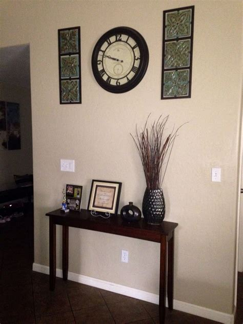 entryway wall decor narrow entryway table wall clock with wall decorations