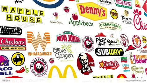 *reverse* Food Brands Logo Loop Stock Animation