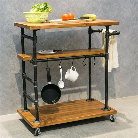 Huge savings in every category!! Industrial Portable Kitchen Island on Wheels,Bar Carts for the Home Wine Bar Beverage Coffee ...